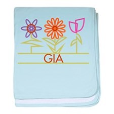 Gia with cute flowers baby blanket