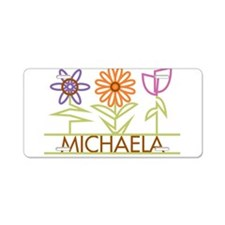 Michaela with cute flowers Aluminum License Plate