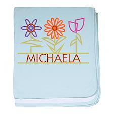 Michaela with cute flowers baby blanket