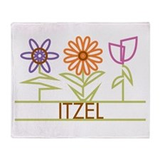 Itzel with cute flowers Throw Blanket