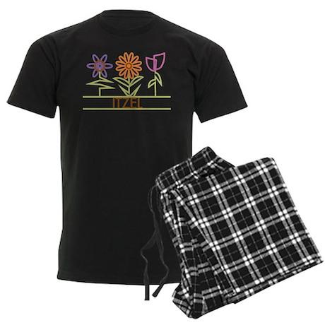 Itzel with cute flowers Men's Dark Pajamas