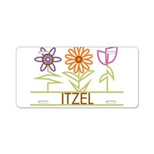 Itzel with cute flowers Aluminum License Plate