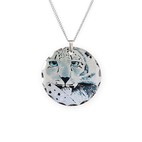 Snow Leopard Face Necklace Circle Charm