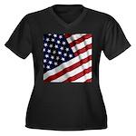 America Women's Plus Size V-Neck Dark T-Shirt