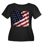 America Women's Plus Size Scoop Neck Dark T-Shirt
