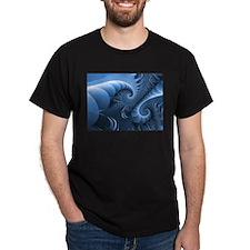 """""""Dinosaur Wedgewood"""" Fractal Black T-Shirt"""