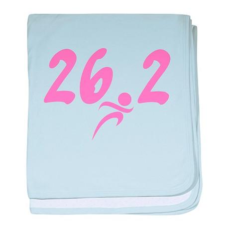 Pink 26.2 Marathon baby blanket