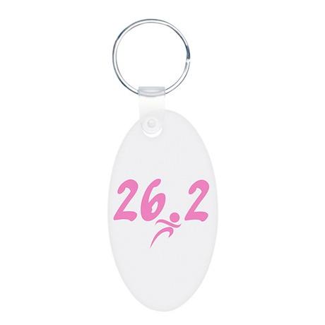 Pink 26.2 Marathon Aluminum Oval Keychain