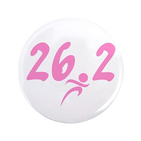 """Pink 26.2 Marathon 3.5"""" Button"""