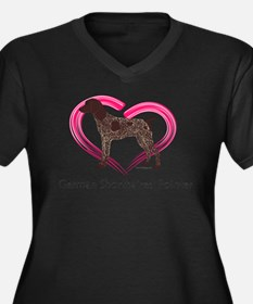 Heart My GSP Women's Plus Size V-Neck Dark T-Shirt