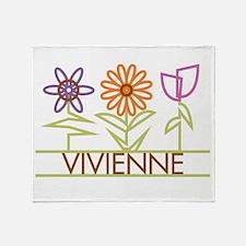 Vivienne with cute flowers Throw Blanket