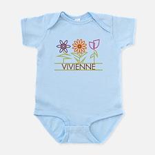 Vivienne with cute flowers Infant Bodysuit