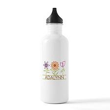 Adalynn with cute flowers Sports Water Bottle