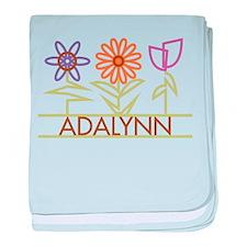 Adalynn with cute flowers baby blanket