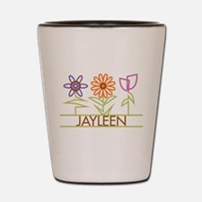 Jayleen with cute flowers Shot Glass