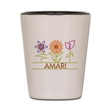 Amari with cute flowers Shot Glass