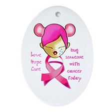 Unique Fight like a girl breast cancer Ornament (Oval)