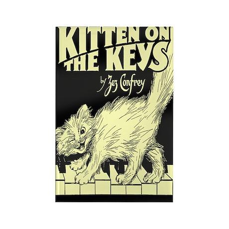 Kitten on the Keys Rectangle Magnet (100 pack)