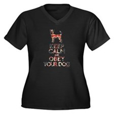 """""""Keep Calm and Obey Your Dog"""" Women's Plus Size V-"""
