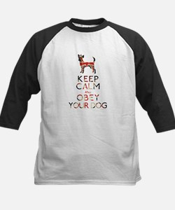 """""""Keep Calm and Obey Your Dog"""" Kids Baseball Jersey"""