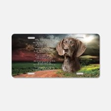 """""""Why God Made Dogs"""" GSP Aluminum License Plate"""