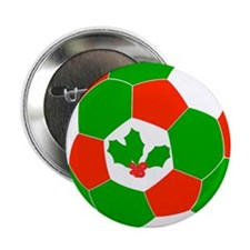 "Christmas Soccer Ball 2.25"" Button"