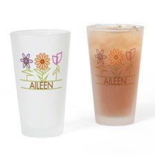 Aileen with cute flowers Drinking Glass