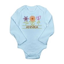 Annika with cute flowers Long Sleeve Infant Bodysu