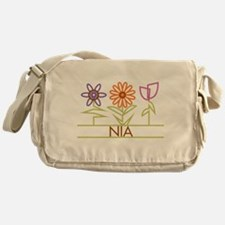 Nia with cute flowers Messenger Bag