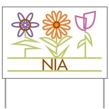 Nia with cute flowers Yard Sign