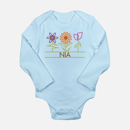 Nia with cute flowers Long Sleeve Infant Bodysuit