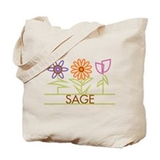 Sage with cute flowers Tote Bag