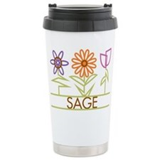 Sage with cute flowers Travel Mug