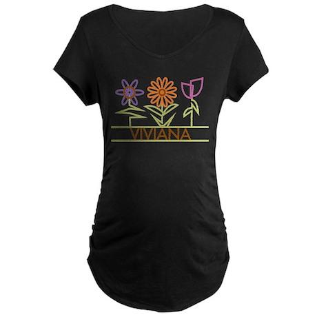 Viviana with cute flowers Maternity Dark T-Shirt