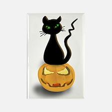 Black Cat & Pumpkin Halloween Rectangle Magnet
