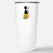 Black Cat & Pumpkin Halloween Travel Mug