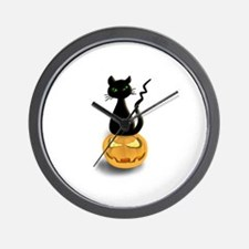 Black Cat & Pumpkin Halloween Wall Clock
