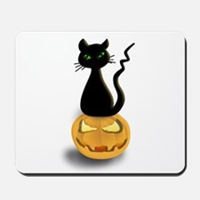 Black Cat & Pumpkin Halloween Mousepad