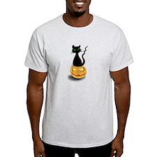 Black Cat & Pumpkin Halloween T-Shirt