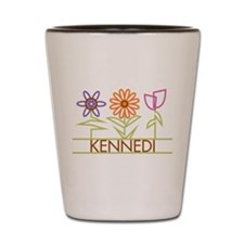 Kennedi with cute flowers Shot Glass