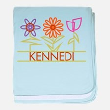 Kennedi with cute flowers baby blanket