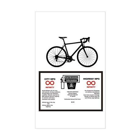 Bicycle Gas Mileage Sticker (Rectangle)