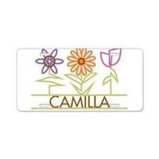 Camilla with cute flowers Aluminum License Plate