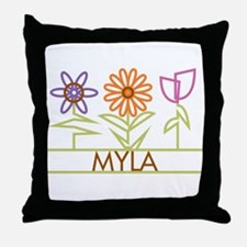 Myla with cute flowers Throw Pillow