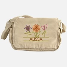 Alissa with cute flowers Messenger Bag