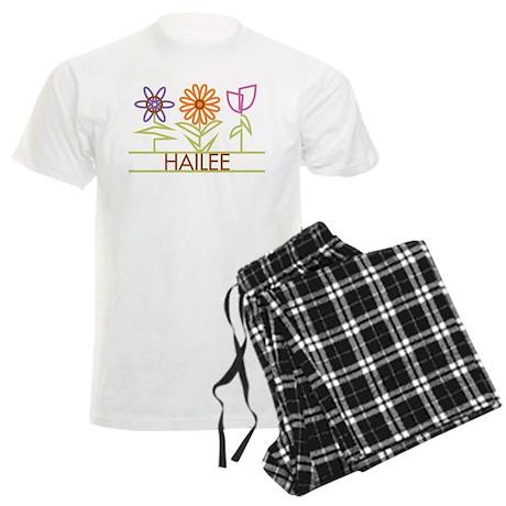 Hailee with cute flowers Men's Light Pajamas