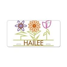 Hailee with cute flowers Aluminum License Plate