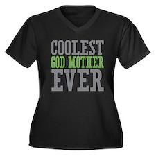 Coolest God Mother Women's Plus Size V-Neck Dark T