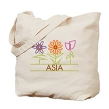Asia with cute flowers Tote Bag