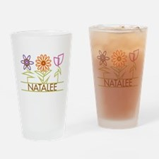 Natalee with cute flowers Drinking Glass